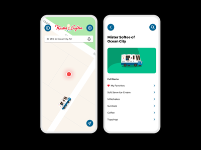 Mister Softee's First Mobile App modern clean uber mobile ux ios friendly flat design illustration ui design uxdesign summer mister softee ice cream