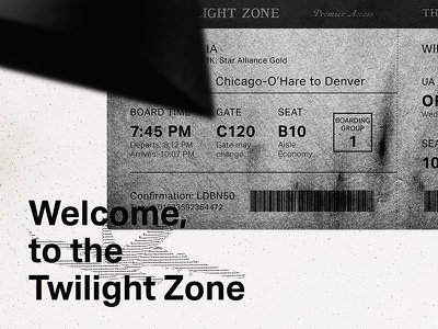 Another Nightmare at 20,000ft grayscale black and white twilight zone book design grunge contemporary clean swiss book