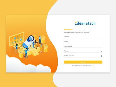 Sign Up Screen for Ideanation Web Version ux uiux clean app ui design design clean webdesign sign up webste sign up form signup website design registration page register form sign up web design