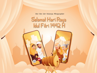 Happy Eid Mubarak corona poster art ramadhan branding clean design 1442 h eidmubarak idul fitri