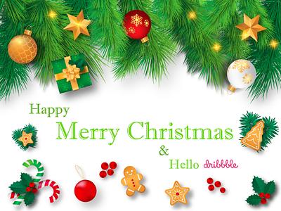 Happy Merry Christmas & Hello Dribbble Family dribbble member new clean branding art flat design illustration happy merry chrismast dribbble invite invite