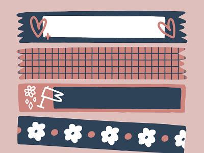 Doodle Tape Sticker Kit | Stationery Graphic Collection illustrator adobe vector design graphic decoration collage kit pack set design element sticker digital art journal digital diary aesthetic pink doodle washi tape tape