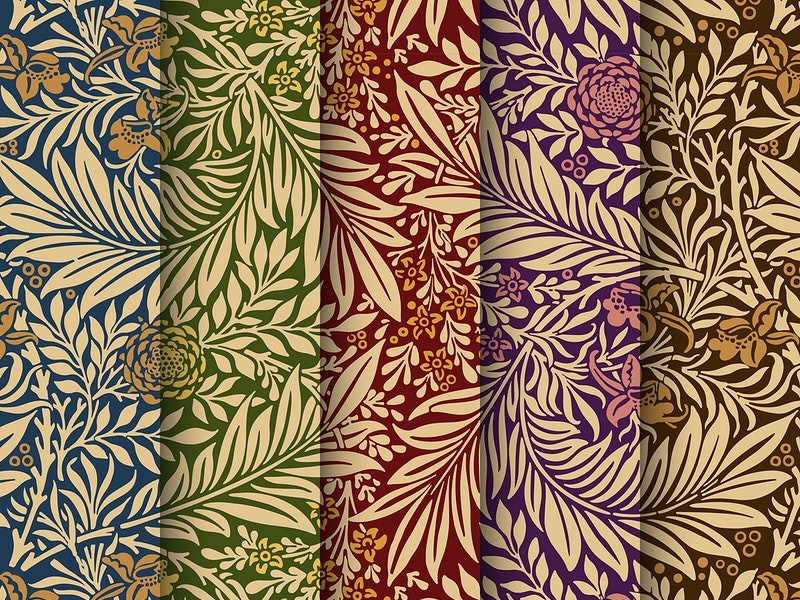 Larkspur patterns derived from William Morris's designs background seamless wallpaper gold graphic natural pattern pattern library
