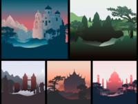 Silhouette of Landmarks