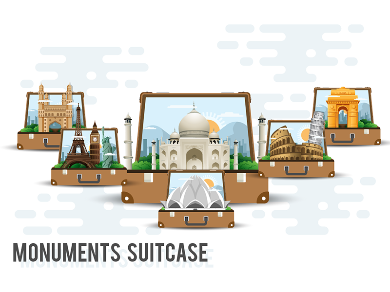 Monuments Suitcase monuments illustration