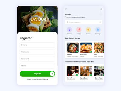 FOOD App Design loginui restaurant minimalui foodapplication foodui food ux uidesign ui mobileapplication design app