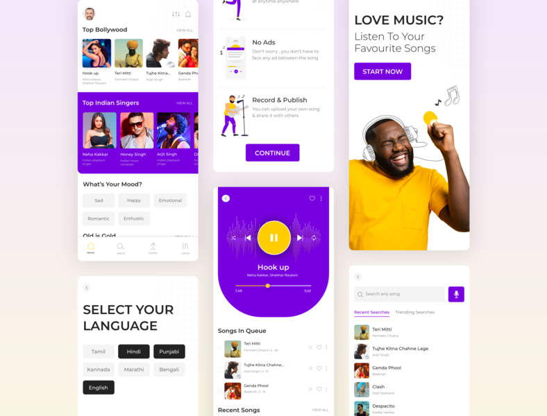 Music App Design illustrations adobexd music app ui webdesign minimal design ui designs mobile application ux design ui design music application music app music