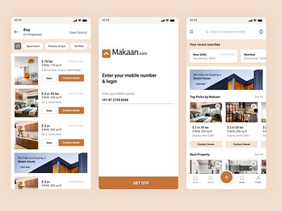 Makaan - Real Estate App app design ofspace real estate branding real estate logo brand design realestate minimal design ui real estate ux design app ui design design