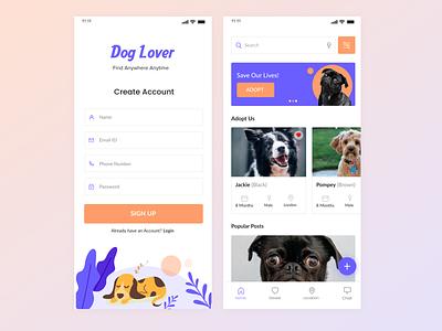 Dog Lover  -  Mobile App Design illustrations adobe xd mobile ui design dogs app pets mobile ui mobile app design adobexd minimal design app ui ux design ui design design