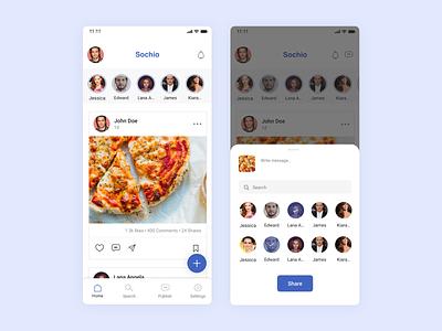 Sochio - Social Media App social media app mobile app design ux design ui app