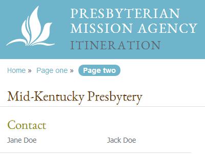 Itineration pc(usa) mobile presbyterian presbyterian mission