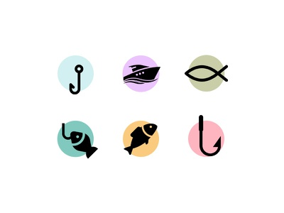 Free Icon Fishing set vector psd icon water boat fish fishing freebies free free icon