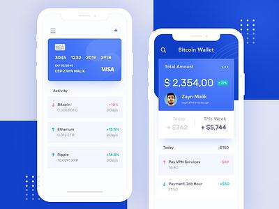 Bitcoin Wallet Exploration bitcoin crypto ios bank payment visa wallet blue mobile app ui ui ux