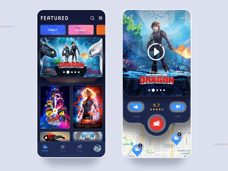 Movie App Reimagined menu menu bar ux  ui cards map android ios movies app  design app movie app movie