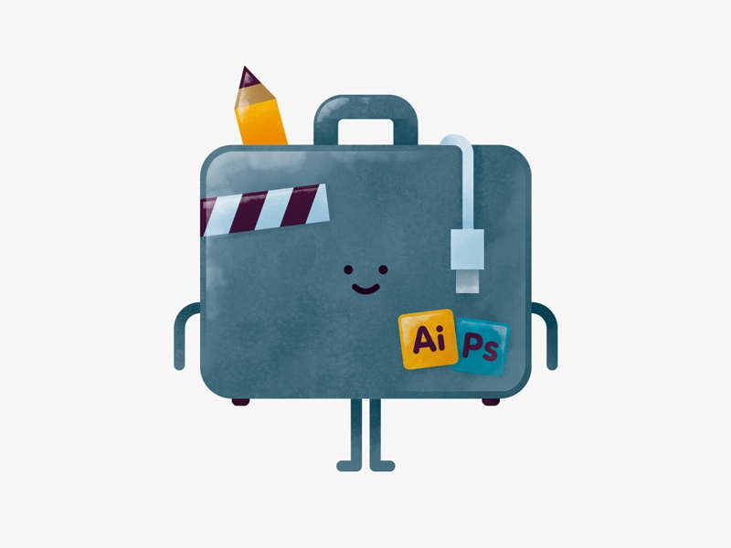 Adventure icon pencil suitcase bag texture drawing character doodle illustration