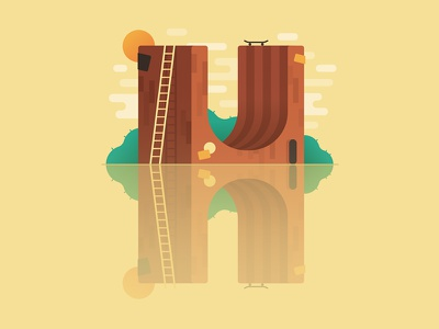 H for Halfpipe halfpipe illustration letter vector type 36days 36daysoftype
