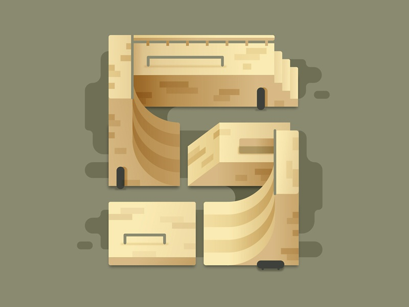 S for Skatepark skatepark illustration letter vector type 36days 36daysoftype
