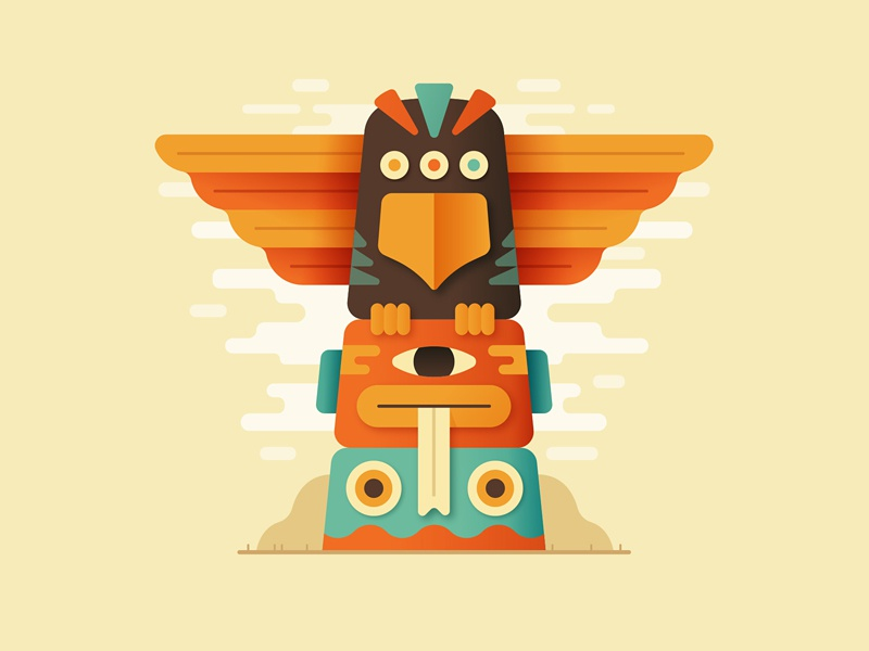 T for Totem totem illustration letter vector type 36days 36daysoftype