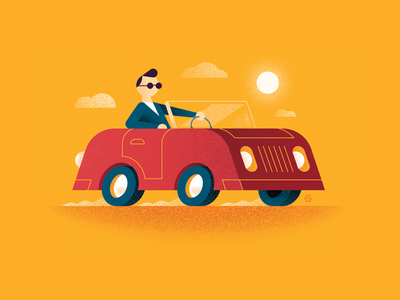 Cruising flatvector bright colour character grain grit stroke minimal simple illustration vector