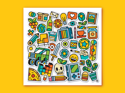 StickerBomb color colour bright print stickers sticker icons flatvector drawing illustration vector