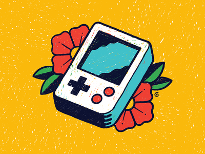 Scribble Boy flower bright primary handdrawn texture simple retro videogame gameboy tattoo scribble doodle