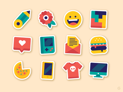 Sticker Icons tetris burger gameboy skull smile drawing geometric simple icon color colour illustration flatvector vector sticker
