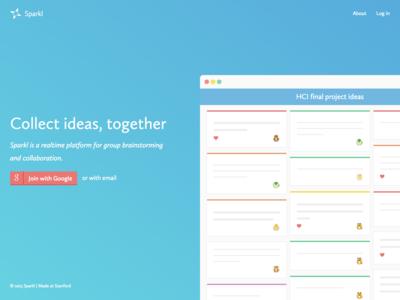 Sparkl landing page sparkl web app demo gradient bright product minimal web marketing page landing page