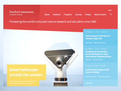 Stanford CS website redesign computer science slanted gradient flat bold vibrant bright colors web homepage department stanford university