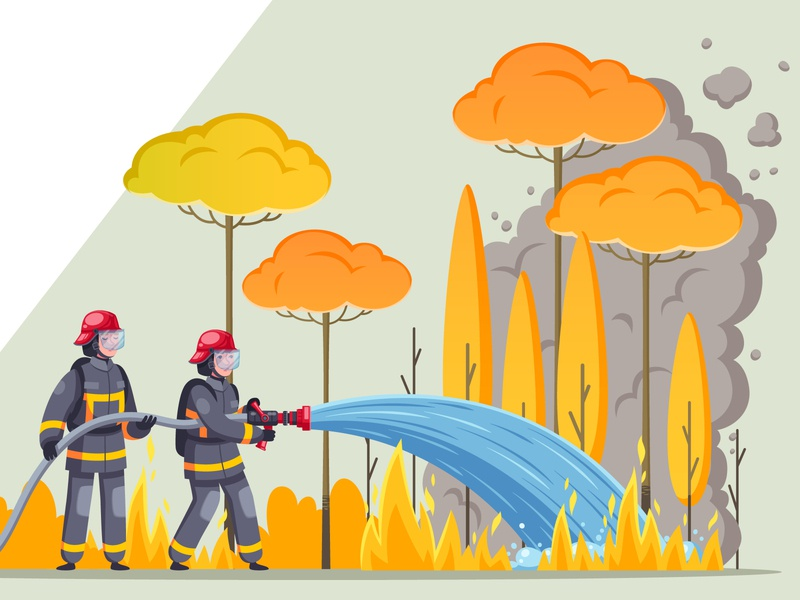 Firefighters in the forest banner forest firemen firefighters cartoon vector illustration