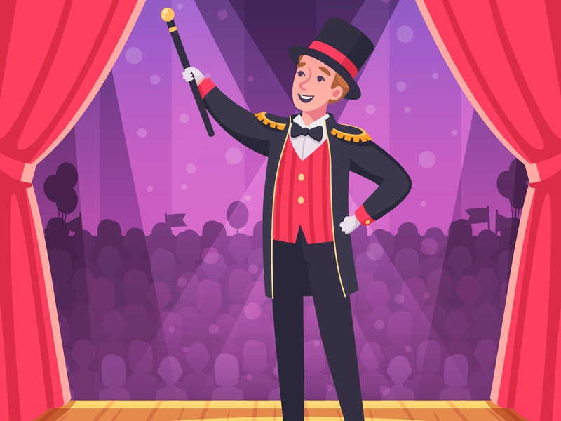 Circus performance background show magician performance circus cartoon vector illustration