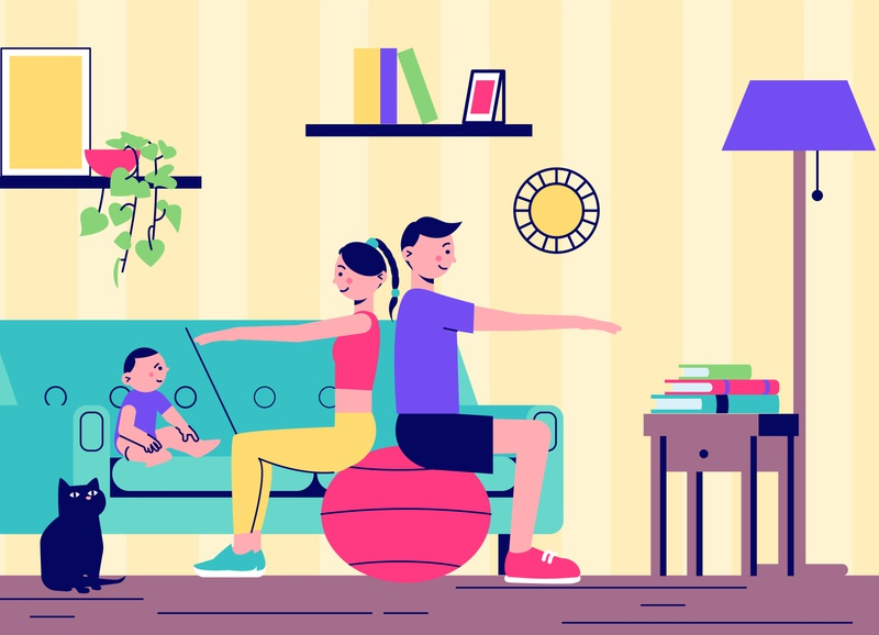 Home yoga fitness illustration baby parents fitness family flat vector illustration