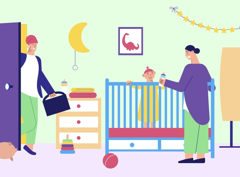 Babysitter for working parents baby parents babysitter flat vector illustration