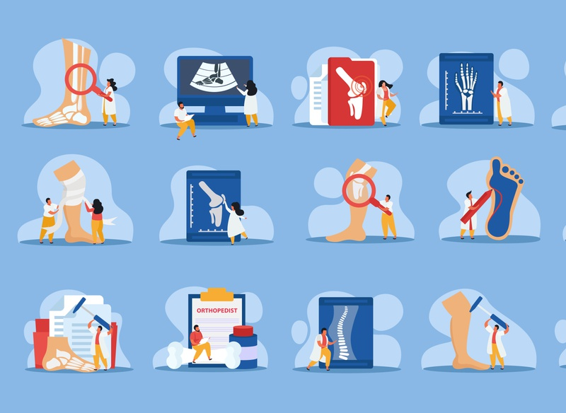 Orthopedics clinic icons set healthcare orthopedics clinic flat vector illustration
