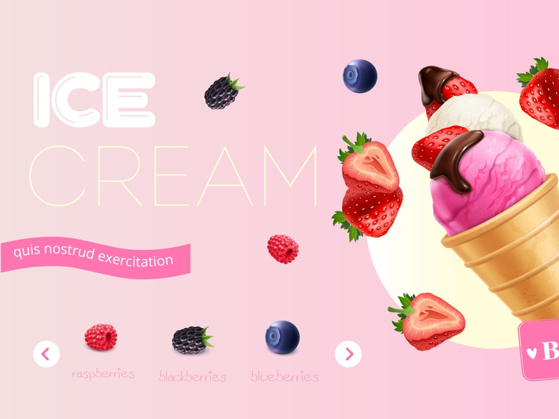 Ice cream composition dessert waffle cone berries ice cream realistic vector illustration