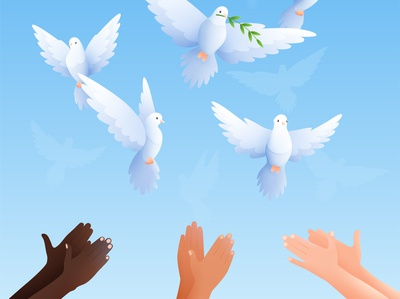 Pigeons composition hands human pigeons cartoon vector illustration