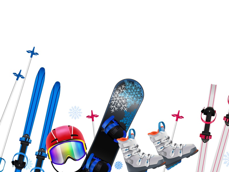Sports equipment composition helmet ski snowboard equipment realistic vector illustration