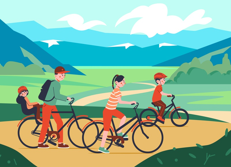 Family bicycle walk composition riding landscape bicycle family flat cartoon vector illustration