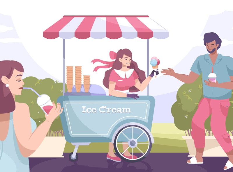 Ice cream street composition people park kiosk ice cream flat vector illustration