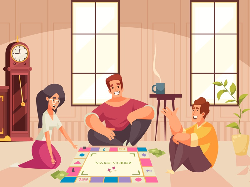 Board games money composition money people board games cartoon vector illustration