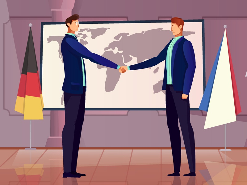 Diplomacy and cooperation background cooperation meeting diplomat people flat vector illustration