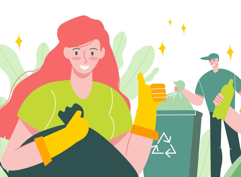 Garbage recycling composition container people recycling garbage flat vector illustration