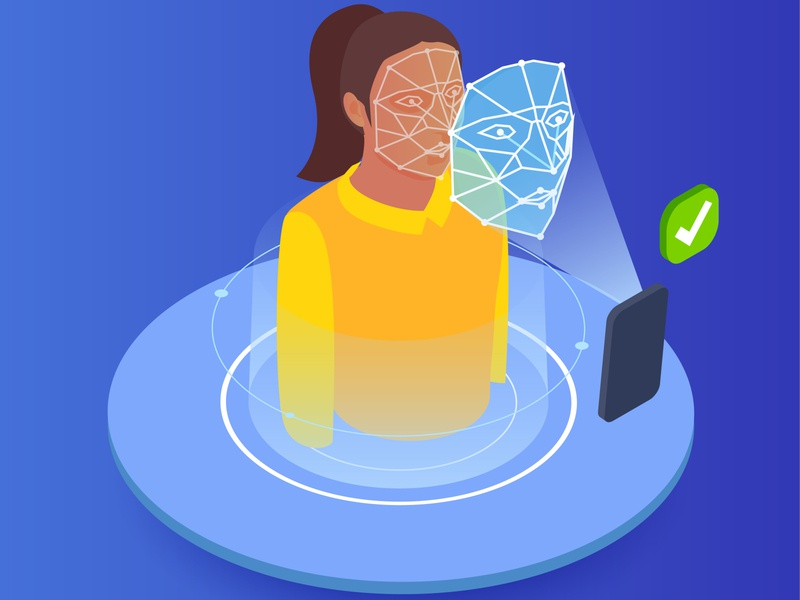 Face scanning biometric technology device technology scanning biometric isometric vector illustration