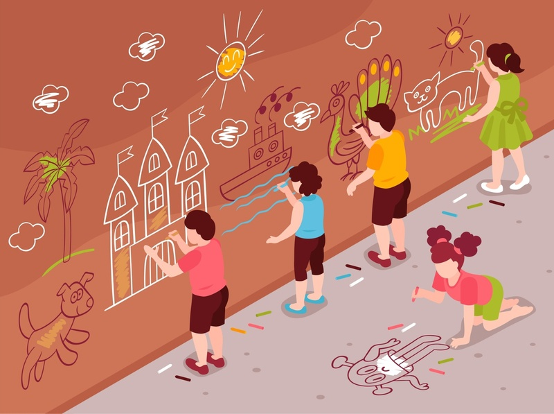 Children art school wall composition art drawing children isometric cartoon vector illustration