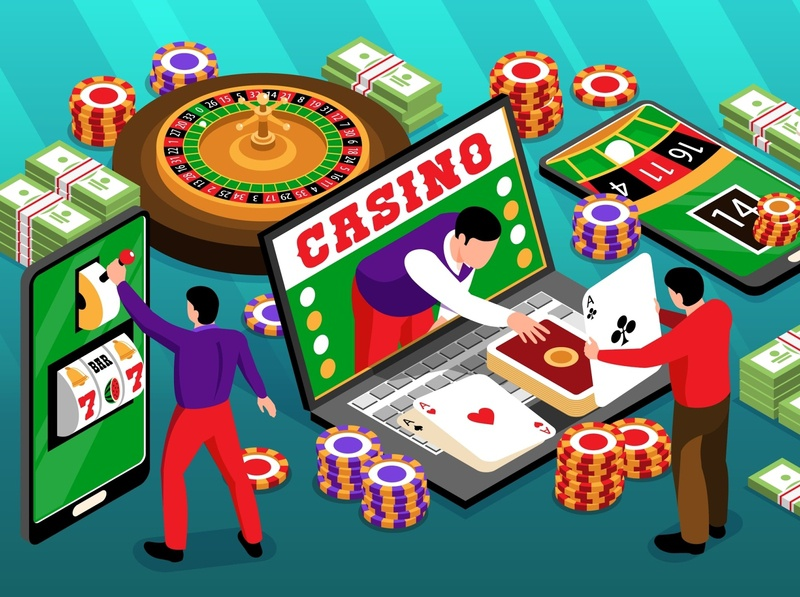 Online casino illustration banknotes chips roulette casino isometric vector illustration