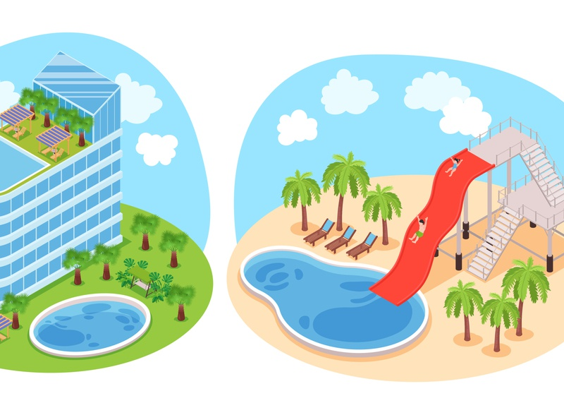 Hotel water park design concept landscape water park hotel isometric cartoon vector illustration