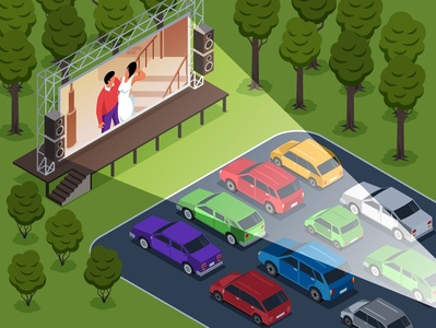 Open air cinema illustration movie cinema open air isometric cartoon vector illustration