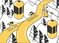 Competition skiing illustration hill piste participants competition skiing isometric vector illustration