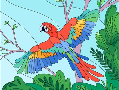 Tropical bird parrot parrot bird tropical cartoon vector illustration