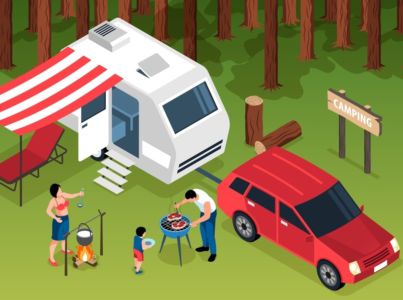 Family trip illustration barbecue forest trip family cartoon isometric vector illustration