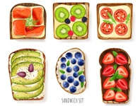 Toast bread toppings berries toast bread realistic vector illustration